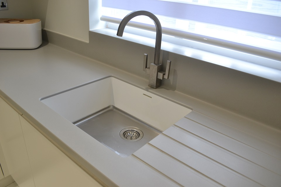 modern kitchen franke tap corian sink