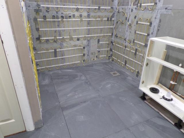 Floor tiles laid