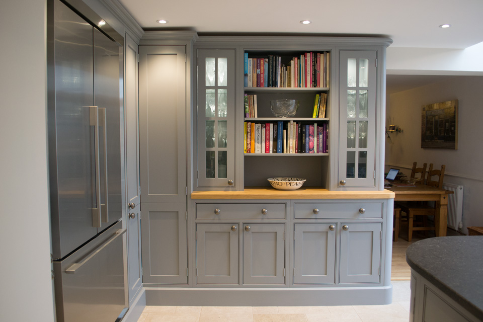 Open Shelving displaying books in Kitchen