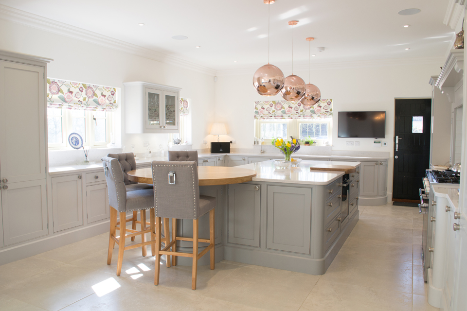 Bespoke Kitchen Suffolk with island unit and oak breakfast bar